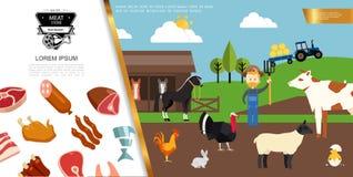 Flat Farm Colorful Composition stock illustration