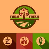 Flat farm emblems Royalty Free Stock Photography