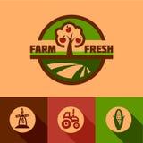 Flat farm emblems Royalty Free Stock Photography