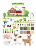 Flat  farm with farmhouse. Flat farm, vector set. Elements for game: sprites and tile sets. Vegetables, fruits and farm animals Royalty Free Stock Photo