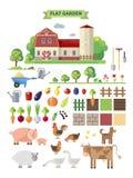 Flat  farm with farmhouse Royalty Free Stock Photo