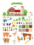 Flat  farm with farmhouse Stock Photography