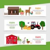 Flat Farm Horizontal Banners Stock Photography