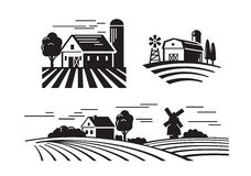 Flat farm icons. Vector black flat farm icons on white Stock Images