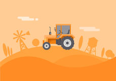 Flat farm Illustration. The tractor rides around the farm Royalty Free Stock Images