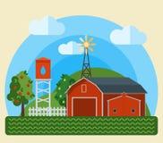 Flat Farm Landscape Royalty Free Stock Photo