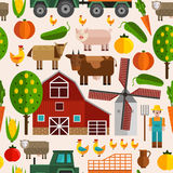 Flat Farm Pattern. With buildings trees animals products and characters in color vector illustration Stock Photos
