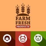 Flat farm products emblems Stock Photo