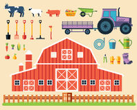 Flat farm in village set sprites and tile sets Stock Photo