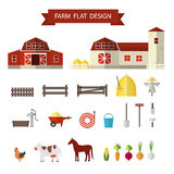 Flat farm in village stock illustration
