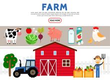 Flat Farming Icons Collection vector illustration