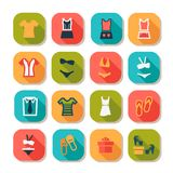 Flat fashion clothes icons Royalty Free Stock Image