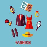 Flat fashion icons Royalty Free Stock Photos