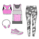 Flat fashion sketch - Gym outfit set - leggings, sport bra, sport tank Royalty Free Stock Images