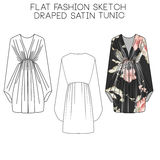 Flat fashion technical sketch - Draped Satin Tunic Stock Images