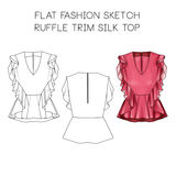 Flat fashion technical sketch - Ruffle trim top Royalty Free Stock Photos