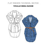 Flat fashion technical sketch - woman denim blouse Royalty Free Stock Image