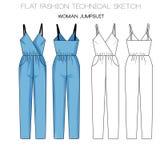 Flat fashion technical sketch - woman jumpsuit. Flat fashion technical sketch woman jumpsuit Stock Image