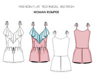 Flat fashion technical sketch - woman jumpsuit. Flat fashion technical sketch woman jumpsuit Royalty Free Stock Photos