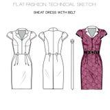Flat fashion technical sketch - woman sheath dress Stock Image