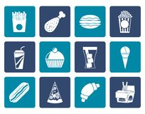 Flat fast food and drink icons. Vector icon set stock illustration