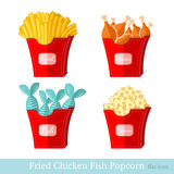 Flat fast food fried potato chicken fish popcorn with pack Royalty Free Stock Images