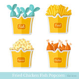 Flat fast food fried potato chicken fish popcorn with pack on white Royalty Free Stock Images