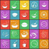 Flat fast food packaging cooking process icons set Stock Photo
