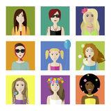 Flat female faces set. Vector flat spring different female faces set Stock Photos