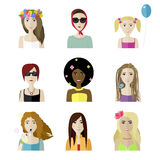 Flat female faces set. Vector flat spring different female faces set Royalty Free Stock Photography