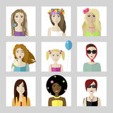 Flat female faces set. Vector flat spring different female faces set Stock Photography