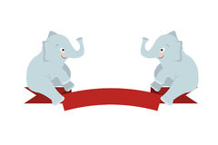 The flat figure two elephant sit on Red Ribbon Stock Image