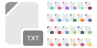 Flat file format icons. Audio, video, image, system, archive, code and document file types. Set of Document File Formats and Labels icons. Vector illustration Royalty Free Stock Photo