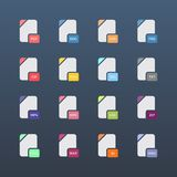 Flat file format icons. Audio, video, image, system, archive and document file types. Vector illustration Stock Image