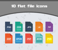 Flat File Icon Set. Colorful Flat Design Set easy to edit Royalty Free Stock Photos