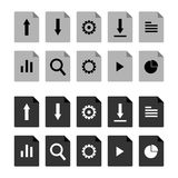 Flat, file icon set. Grey and black version. Ten different icons. Isolated on white Stock Images
