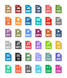 Flat file types icons. Archive, vector, audio, image, system, document formats Stock Photo