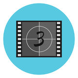 Flat  film countdown symbol on video tape, film leader, head leader. Cinematography movie production illustration Stock Photo