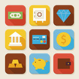 Flat Finance and Banking Squared App Icons Set. Flat Style Vector Illustration. Money and Financial Items Set. Collection of Square Rectangular Shape Royalty Free Stock Photography