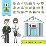 Flat Finance Concept With Businessman And Bank Royalty Free Stock Images