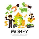 Flat Finance Concept. With businessman cash wallet money cow bag of gold coins hand holding magnet cowboy on piggy bank isolated vector illustration Royalty Free Stock Image