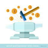 flat finance concept icon hammer bit an anvil and coin cut out Stock Photography