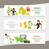 Flat Finance Horizontal Banners. With business people money tree calculator bag of coins cash financial magnet safe wallet dollar cow vector illustration Royalty Free Stock Photos