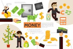 Flat Finance Infographic Concept. With money tree gold coins wallet safe business people dollar cow payment card cowboy sitting on piggy bank vector Royalty Free Stock Photos