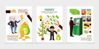 Flat Finance And Investment Vertical Banners. With businessman near atm financial check magnet coins money tree cash icons vector illustration Stock Image