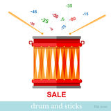 Flat finance sale drum with stick and discount Royalty Free Stock Images