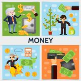 Flat Finance Square Concept. With businessmen safe money tree dollar cow calculator wallet bag of coins cash cowboy on piggy bank vector illustration Royalty Free Stock Image