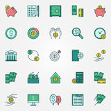 Flat finance vector icons. Flat finance icons - vector money saving and economy symbols. Colorful money savings signs Stock Images