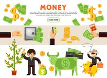 Flat Financial Icons Collection. With money tree cow cash coins safe wallet businessman cowboy sitting on piggy bank isolated vector illustration Stock Photos