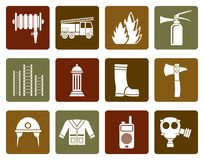 Flat fire-brigade and fireman equipment icon. Vector icon set Royalty Free Stock Images